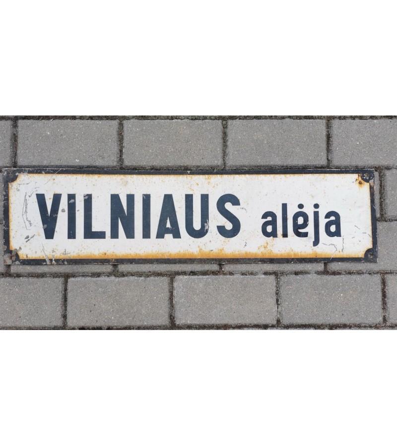 Iškaba, storos skardos, neemaliuota, skardinė tarybinių laikų lentelė, gatvės pavadinimas. VILNIAUS alėja. Kaina 21