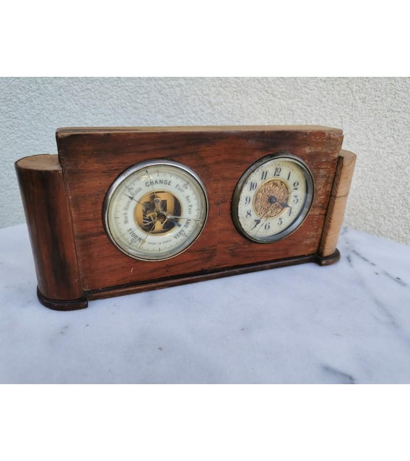 Laikrodis-barometras antikvarinis. Made in Paris. Art Deco stiliaus. Veikiantys. Kaina 32