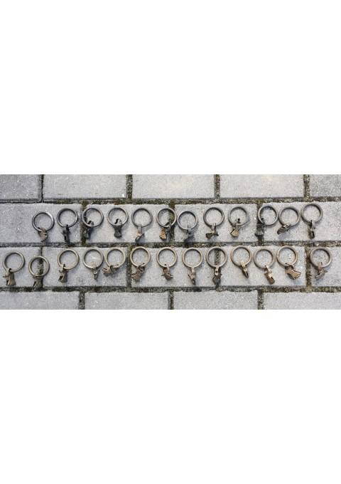 Karnizų žiedai su užuolaidų segtukais tarpukario, antikvariniai. Kaina po 3
