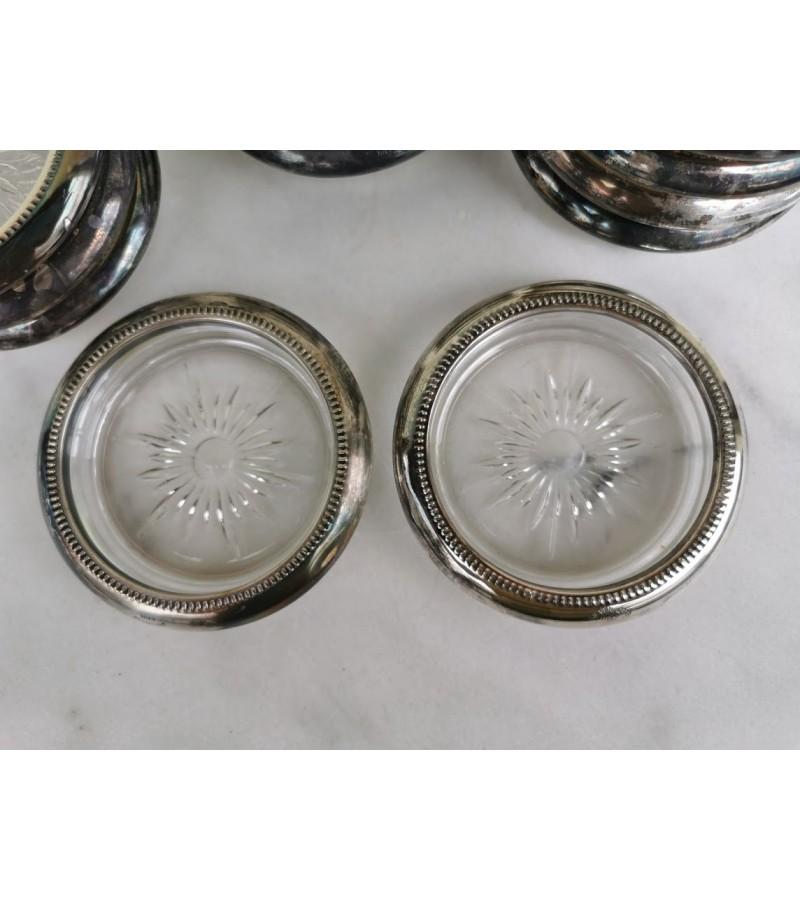 Padėkliukai sidabruoti antikvariniai. Silvered Italy. 12 vnt. Kaina po 6