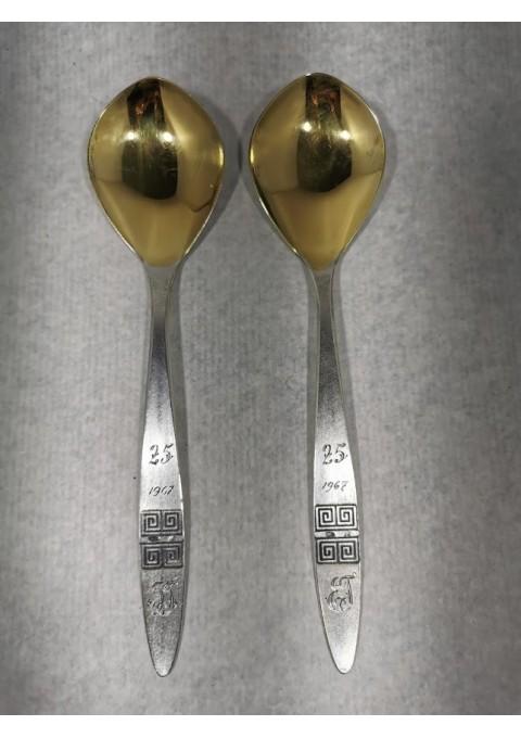 Šaukštai sidabriniai, 2 vnt. 875 prabos, Svoris 83 gr. Kaina 48 už abu.