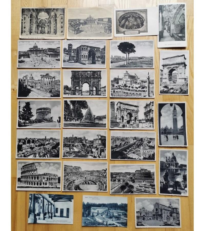 Atvirukai antikvariniai Roma, Venecija. Kaina 6 už visus.
