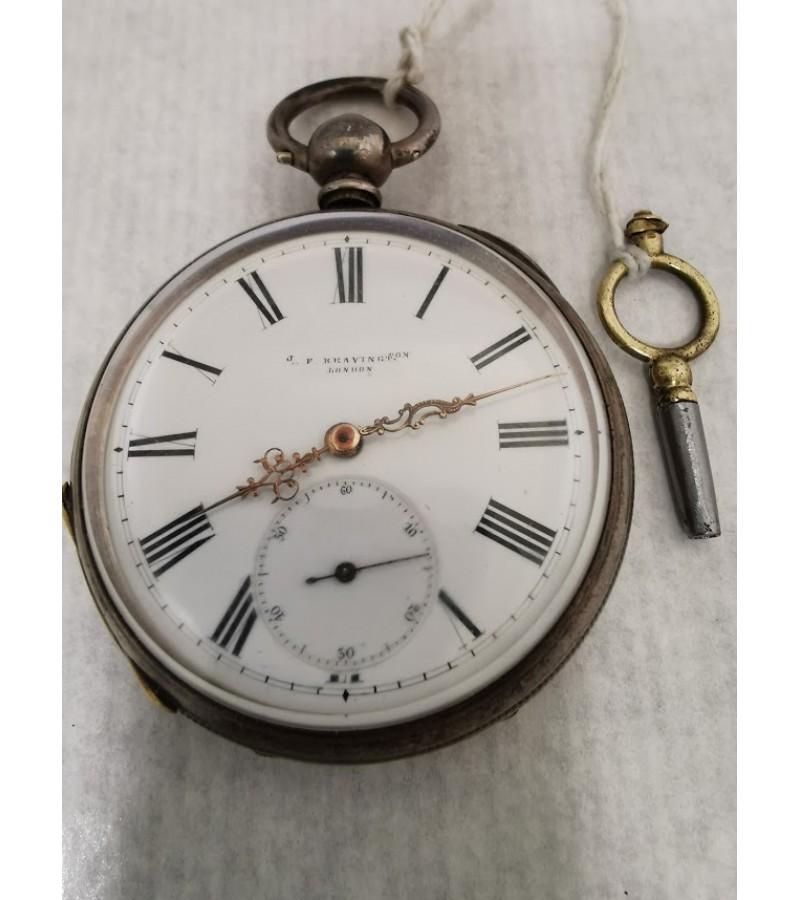Laikrodis antikvarinis, sidabrinis, kišeninis su rakteliu J. F. Bravington London. Veikiantis. Kaina 112