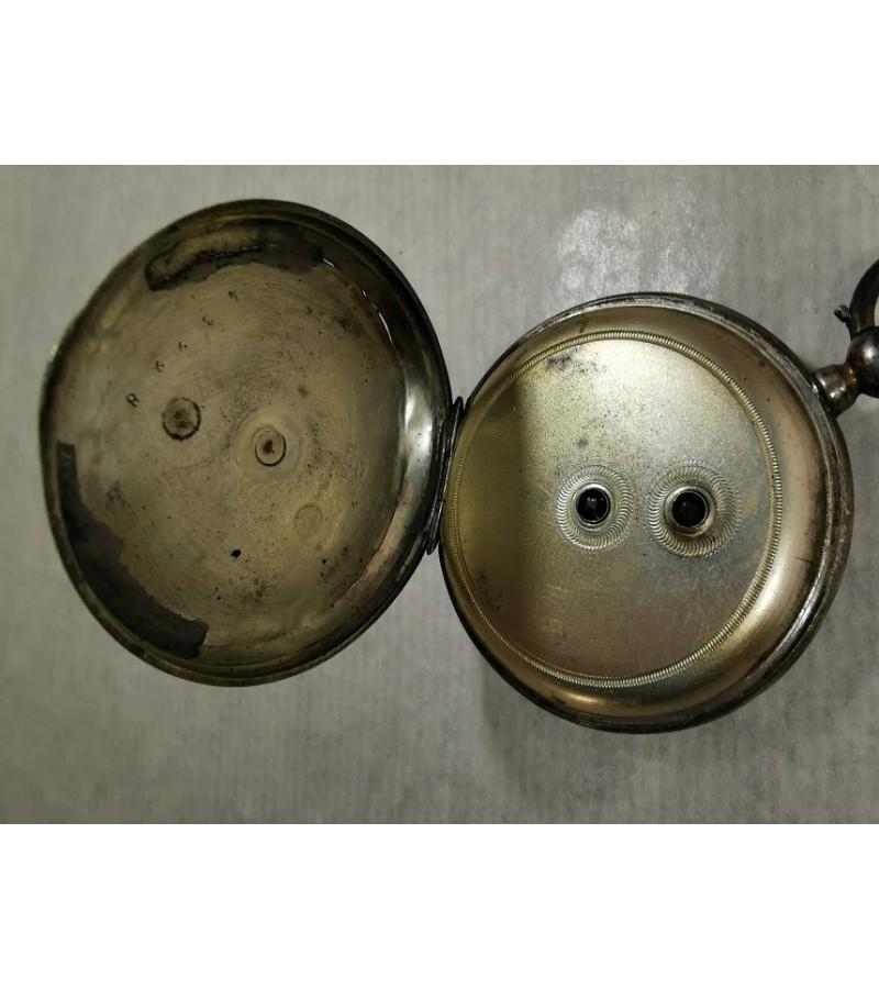 Laikrodis antikvarinis, sidabrinis, kišeninis su rakteliu. Veikiantis. Kaina 92