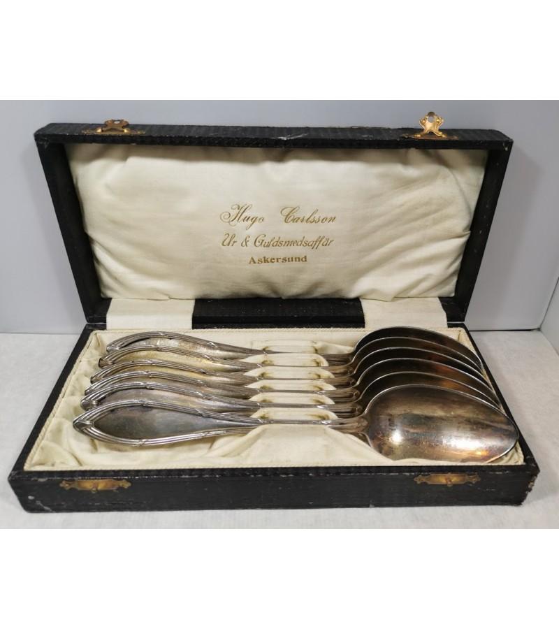 Šaukštai antikvariniai originalioje pakuotėje HUGO CARLSSON, sidabruoti. 6 vnt. Kaina 26