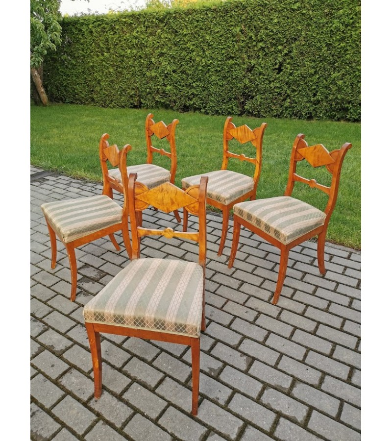 Kėdės antikvarinės, Biedermeier stiliaus. 5 vnt. Kaina po 32