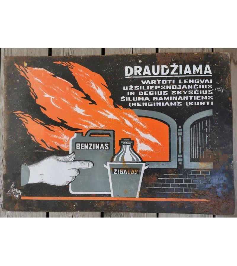 Lentelė, iškaba skardinė, tarybinė Avant-garde stiliaus. Kaina 28